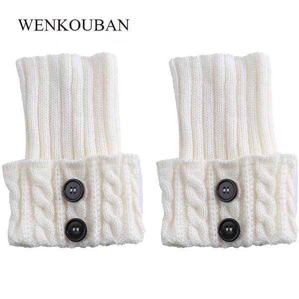 Compre Calentador De La Pierna De Punto De Arranque De Las Mujeres Brevemente Los Puños Botones De Arranque Crochet Calcetines De Punto Polainas es