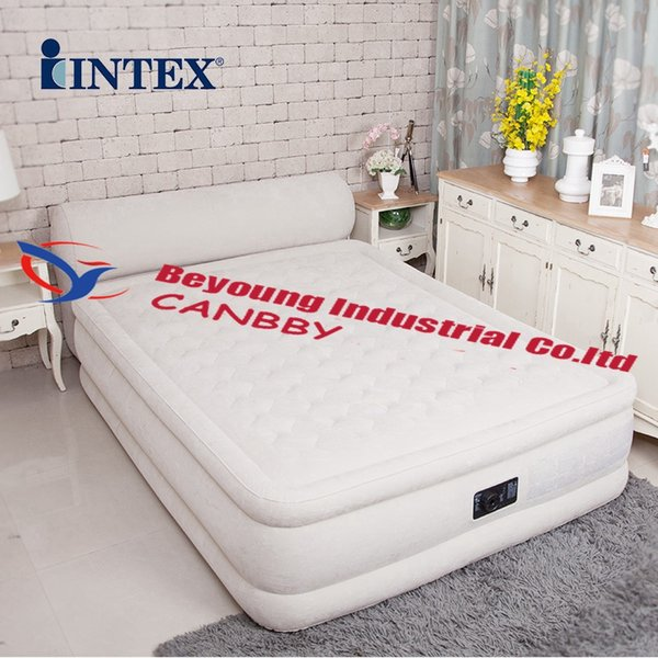 Intex Queen Dura Beam Ultra Plush Airbed Deluxe Inflatable Bed Mattress With Headboard Built In Electric Pump,AC220-240