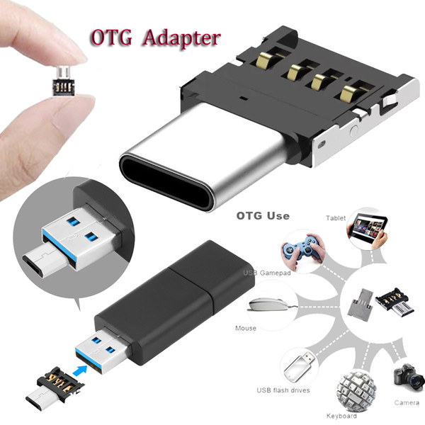 Mini OTG Adapter male USB 2.0 to Micro USB or type C fast data transfer adapter universal sync data adapter for smart phone ipad pc camera