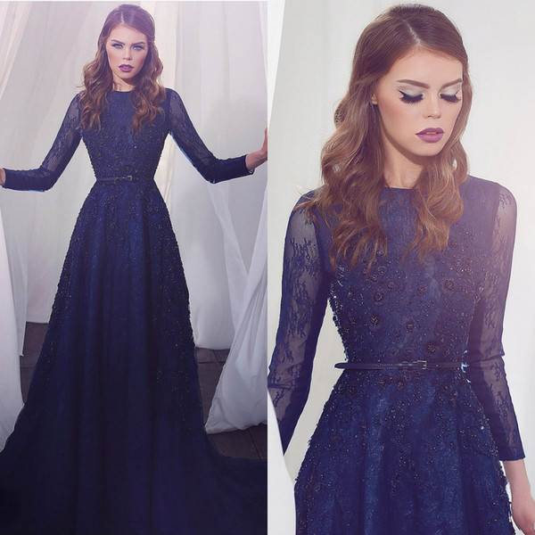 New Arrival Long Sleeves Evening Dresses Navy Blue Jewel Neck Full Lace Floral Appliques Beaded Prom Dress Party Gowns Formal Wear