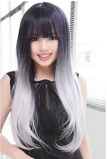Spedizione gratuita ++++ Donne Lolita Hair Black / Grey / White Long Straight Wig Cosplay Anime Wigs