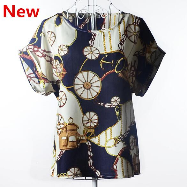 2018 new Large size women printing blouse bird bat shirt short-sleeved chiffon blusas femininas roupas summer style X14