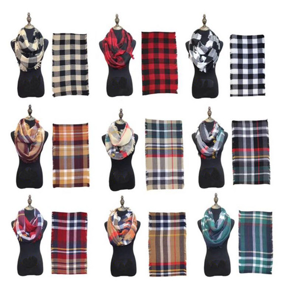 top popular Fashion Plaids Infinity Scarves Grid Loop Scarf Women Winter Warm Blankets Tartan Oversized Check Shawl Lattice Wraps Cashmere Pashmina 2020