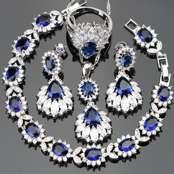 omen jewelry set Silver 925 Wedding Costume Women Jewelry Sets Earrings/Pendant/Necklace/Rings Set With Blue Stones White Zircon Free Gif...