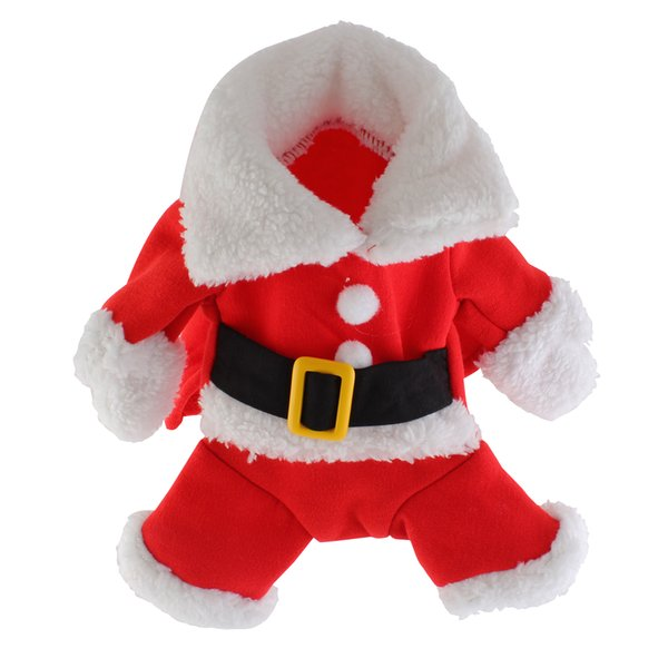 Christmas Pet Santa Claus Suit Costumes Outfit for Small Dog Cat Puppy Jumpsuit Hoodies Clothes with Hat for Teddy bear puppy