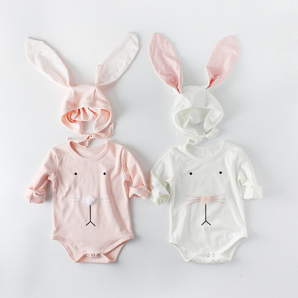 cotton romper 2018 hot selling INS autumn new INS style kids long sleeve pure color cotton cute cartoon face romper + rabbit ears hats