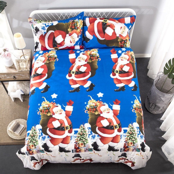 best selling 2 pieces American and European Style Santa Clause Bedding Set One Duvet Cover and two Pillow Covers Twin size Bed Covers Home Textiles GC004