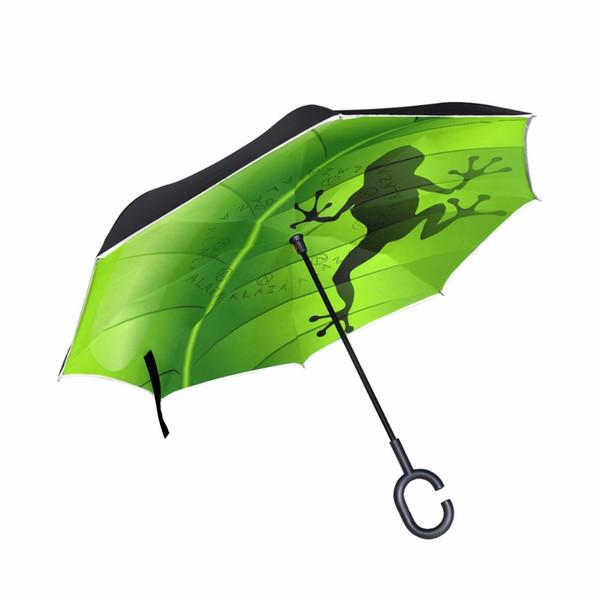Fantasy Frog Umbrella Antivento doppio strato invertito Ombrello pioggia protezione auto inversione ombrelli a forma di c mano