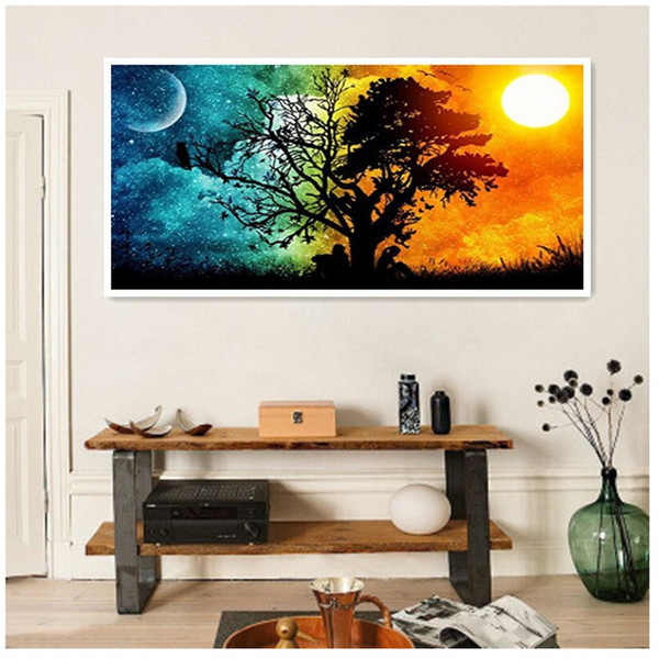 Diamonds Picture DIY The Sun And The Moon Scenery Diamonds Embroidered Full Drill A Living Room New Pattern