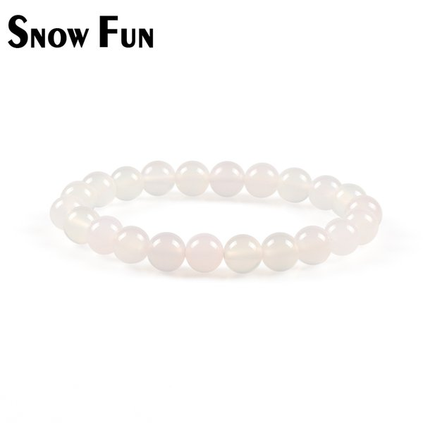 Snow Fun 8mm White Agate Beads Bracelet per le donne Monili giro Accessori di gioielli