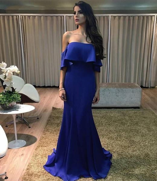 Elegant Mermaid Off Shoulder Royal Blue Evening Dress With Sleeves Simple Satin Long Party Gowns Formal Wear vestidos formatura longo