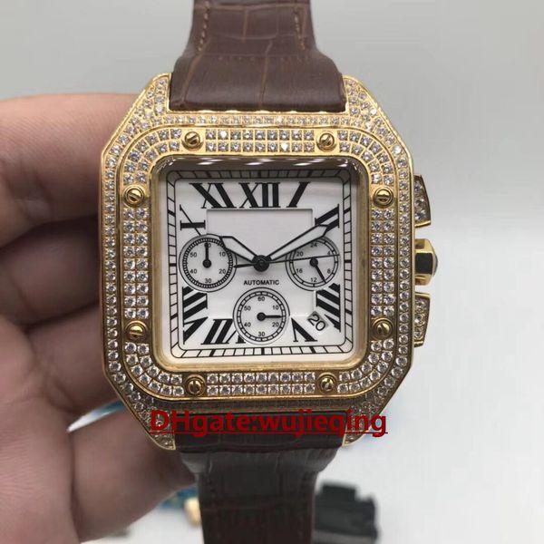 최고 브랜드 최신 남자의 다이아몬드 시계 44MM 일본 운동 VK 타이밍 다기능 운동 고강도 유리 904L 강철 쉘 매력 남자