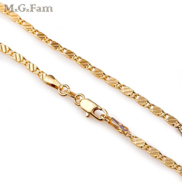 MGFam (216N) Long Slim Chain Necklaces 16/18/20/22/24/26/28/30 inch 18k Gold Plated Unisex Global Sale Jewelry Fashion Lead and Nickel Free
