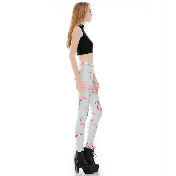 Impresión digital elástico pantalones casuales patrón de cisne rosado mujeres polainas 7 tamaños ropa de fitness envío gratis