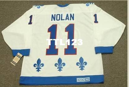 Männer # 11 OWEN NOLAN Quebec Nordiques 1994 CCM Vintage Home Hockey Trikot oder benutzerdefinierte einen Namen oder Nummer Retro-Jersey