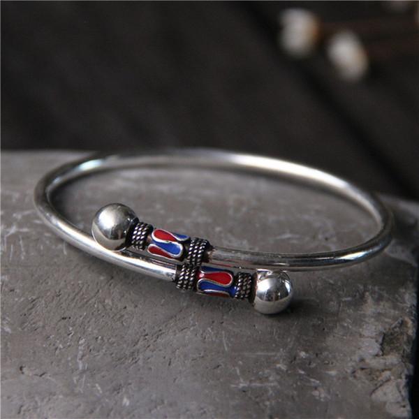 Braccialetto etnico di LPBangle 100% 925 braccialetti dell'argento sterlina per i regali di compleanno dei monili della Tailandia degli uomini delle donne dell'annata Superiore
