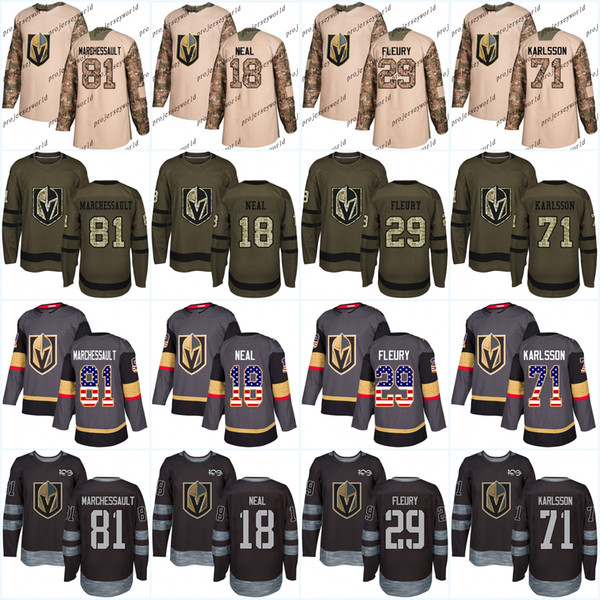 low priced 0e653 cf02a 2019 100th 81 Jonathan Marchessault Vegas Golden Knights James Neal Marc  Andre Fleury William Karlsson USA Flag Premier Salute To Service Jersey  From ...