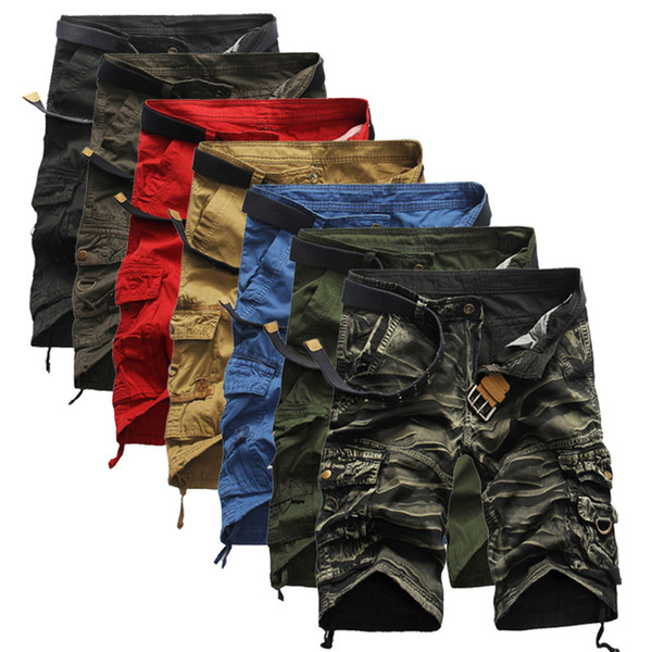 top popular Camouflage Camo Cargo Shorts Men 2018 New Mens Casual Shorts Male Loose Work Shorts Man Military Short Pants Plus Size 29-38 2019