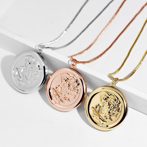 Locket placcato in oro 32mm Locket galleggiante può essere aperto collane con pendente Locket Glass Living Memory Locket con catena