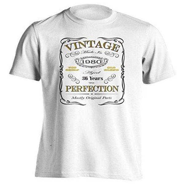 36o presente de aniversário t-shirt nascido em 1980 do vintage envelhecido 36 anos para a perfeição de manga curta camisa dos homens t-shirt verão estilo engraçado