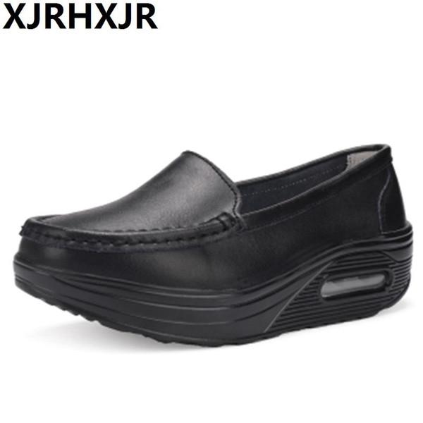 İlkbahar Sonbahar Hava Yastığı Hemşire Ayakkabı Beyaz Kalın Boom Salıncak Ayakkabı Deri Ayakkabı Kadın Moda Seyahat Yürüyüş Ayakkabıları Takozlar Hee