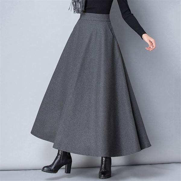 Hiver Femmes Longue Jupe De Mode De Mode Taille Haute De Base De Laine De Jupes Femme Casual Épaisse Chaud Élastique Une Ligne Maxi Jupes O839 C18110801