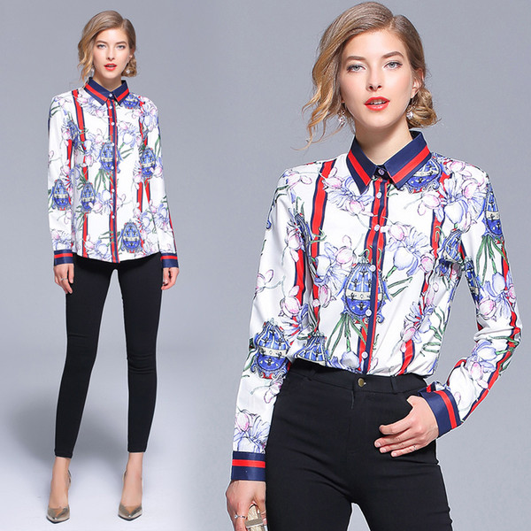 New Arriva 2018 Fall Runway Luxury Fashion Floral Print Collar Women Casual Office Button Front Turn Down Neck Long Sleeve Top Shirts Blouse