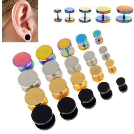 2 Unids Oro Negro de Acero Inoxidable Cheater Faux Fake Ear Ear Plugs Flesh Tunnel Gauge Tapers Pendiente 6-14mm