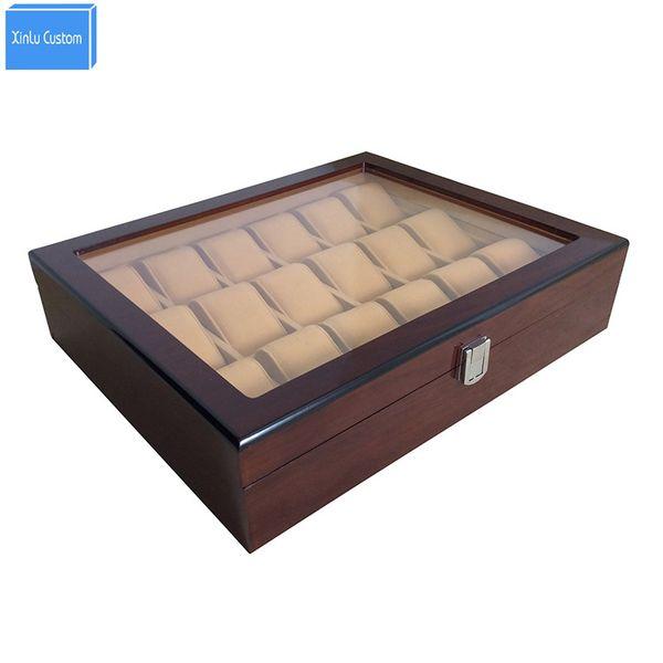 18 Slots Grid Woodacrylic Fenster Schmuck Uhren Display Aufbewahrungskoffer Schloss WBG1006 China Verpackung Boxen Fabrik Mai Customzie