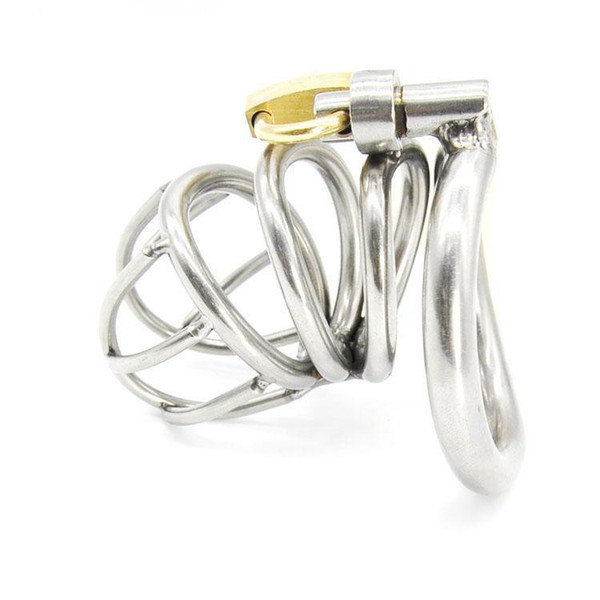 Free shipping!!!Stainless Steel Small Male Chastity device Adult Cock Cage With Curve Cock Ring Sex Toys Bondage Chastity belt SNA224-1