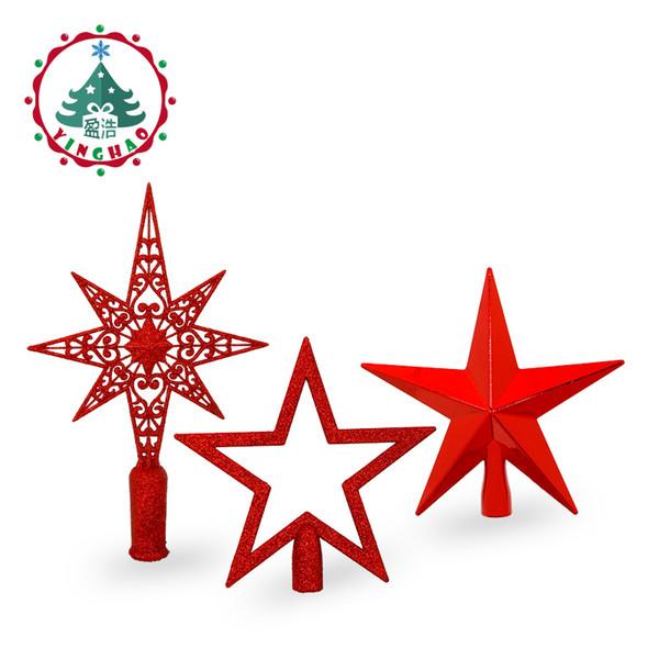 inhoo Rouge Arbre De Noël Haut Décorations Étoiles Pour La Maison Maison Topper Décor Accessoires Ornement De Noël Fournitures Décoratives