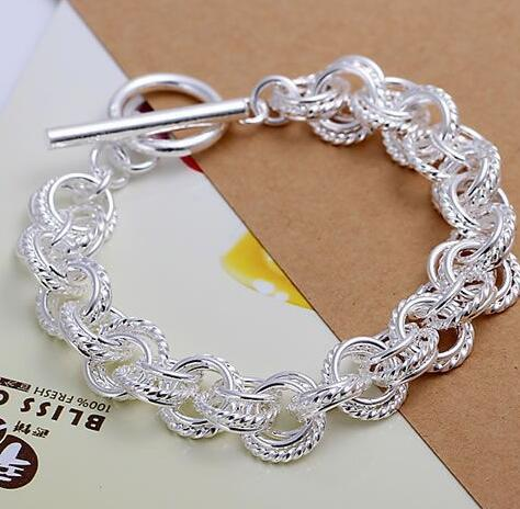 Fine silver plated wholesale jewelrys,Hot sale Factory price charm free shipping 925 fashion Triple Bracelet