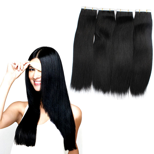 16'' 100% Brazilian Human PU EMY Tape Skin Hair Extensions 2.5g/pcs 40pcs&100g/pack #1 jet black DHL FREE shpping