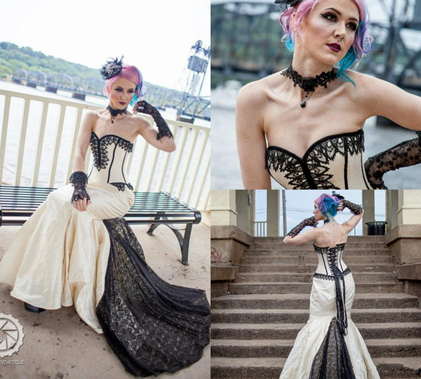 Goth Gothic Bridal Steampunk Gown Halloween Wedding Sweetheart Lace Up Back Sweep Train Satin robe de mariée Sweep Train Plus Size Dress