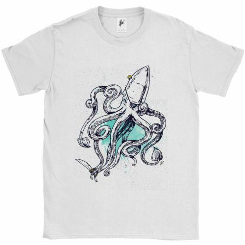 Captain Octopus 8 Legs With Patch Earring & Cutlass Mens T-Shirt