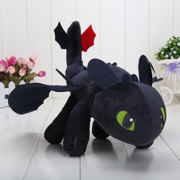 "13"" 33cm Cartoon How to Train Your Dragon Toothless Night Fury Plush Toy Soft Stuffed Animal Doll"