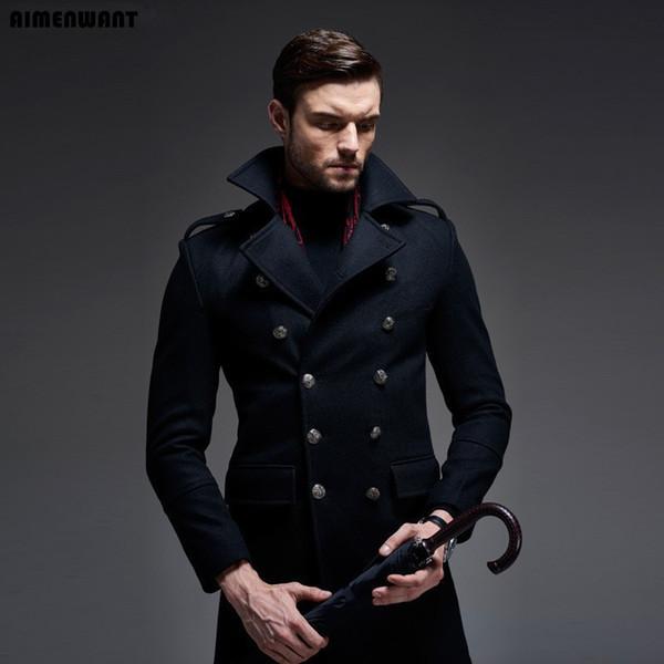 Marca 2018 Novo Design Double Breasted Causal Casaco De Lã Para Os Homens de Alta Qualidade ermany Casaco De Lã Longo Casaco De Ervilha