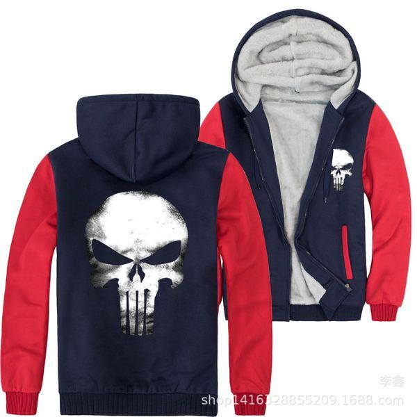 Mens Grey Raglan Sleeves Skeleton Print Jackets Thick Fleece Body Warm Coats Man Fashion Casual Outerwear
