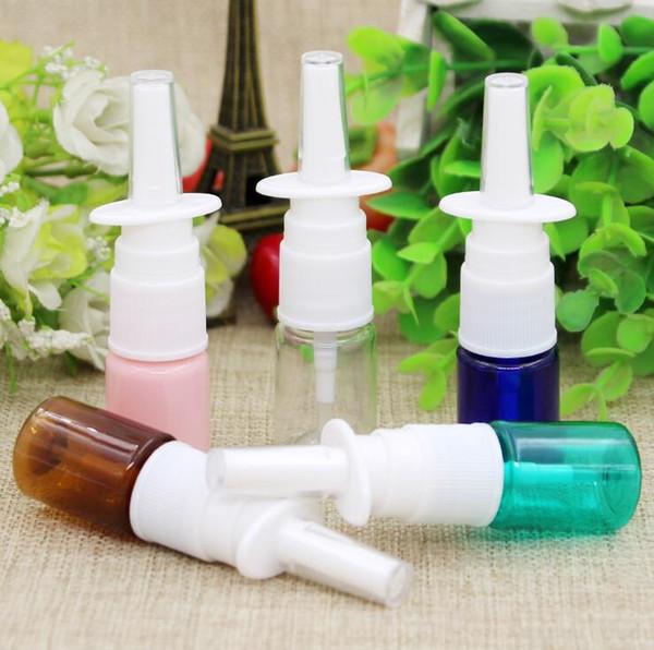 Free Shipping 10pcs 5ml colorful PET Empty Fine Nasal Spray Mist Plastic Bottle, Cosmetic Nose Spray Bottle