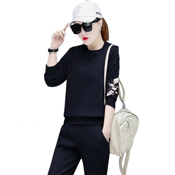 Women Tracksuits Spring Autumn Europe Russia Trend lady long sleeve and Pants Sport Sets Fitness black pink Cottons Elastic waist Pockets
