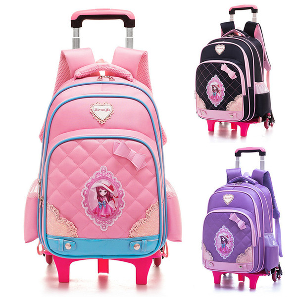 Children Trolley School Bags Mochilas 2/6 Wheels Trolley Luggage For Cartoon Girls backpack Escolar High Quality Schoolbag