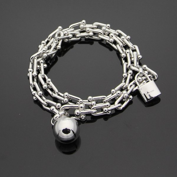 2018 New arrival 316L stainless steel bracelet with pad lock and ball with logo for women and man bracelet in 39cm length wedding jewelry P