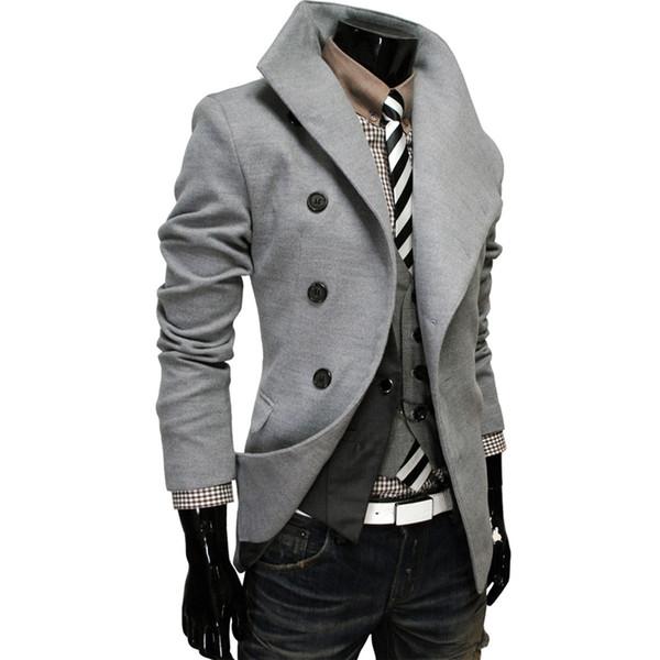 2017 nova moda de luxo novo design homens trench coat design inclinado fivela blusão homens jaqueta M-2XL