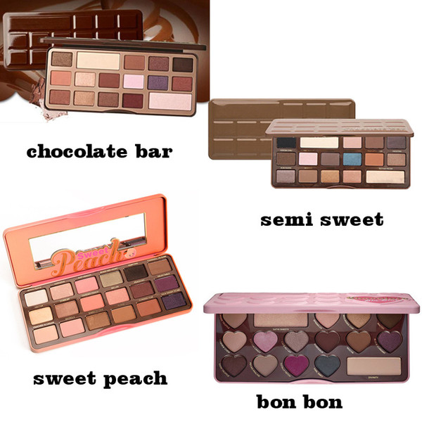 best selling Free Shipping ePacket New Makeup Eyes Chocolate Bar Sweet Bon Bons Semisweet Sweet Peach Eyeshadow Palette!4 Different Colors