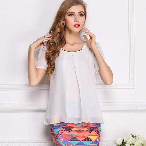 Hot Sales New Summer Women Shirts Ladies Chiffon Blouse Short Sleeve Solid White Top Plus Size Blouse XS-XXL