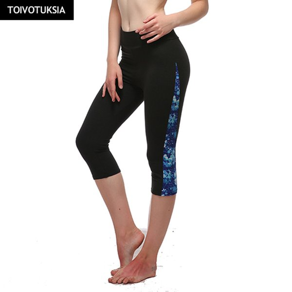 TOIVOTUKSIA Running Tights Brand Sport Pants & Capris Leggins Women Summer Female Leggings Black Leggins