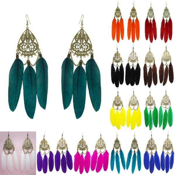Feather Earrings 12 Colors wholesale lots Cute Dragonfly Charm Chain Chandelier Eardrop (Sky Blue Turquoise Orange White Black Green)(JF276)