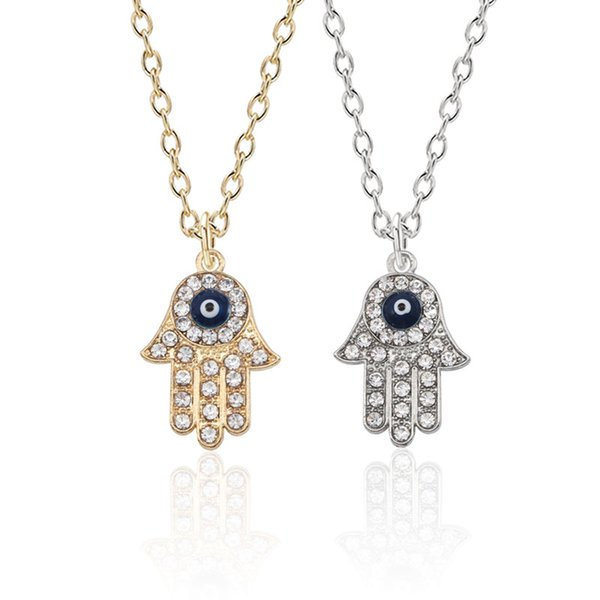 Hip Hop Gothic Blue Evil Eye Hamsa Hand Fatima Palm Necklace For Women Men Gold Silver Necklaces Pendants Christmas Gifts Collar