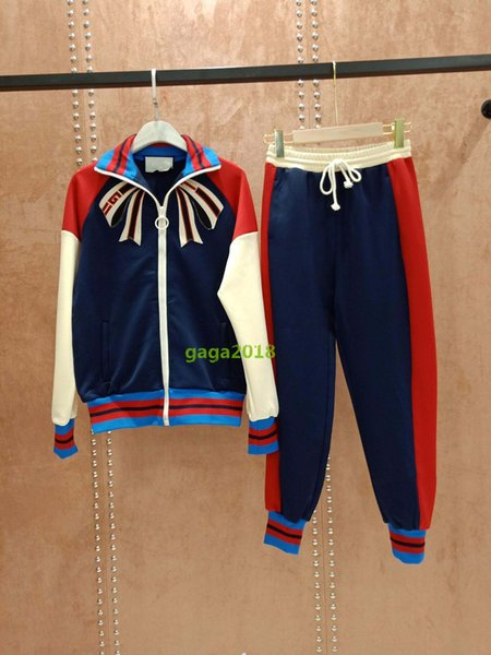 brand luxury design women Long Sleeve Yourself zip up sweatshirt with stripe jacket suit with embroidery bow and jogging pant trousers set
