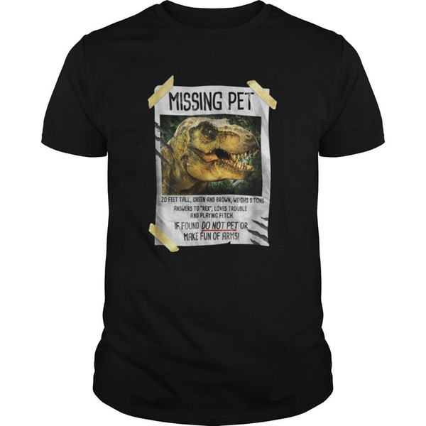 Maglietta nera da uomo dinosauro Missing Pet mancante M - Maglietta calda Top maglietta 4xL Sconto Maglietta divertente di cotone 100% T Shirt
